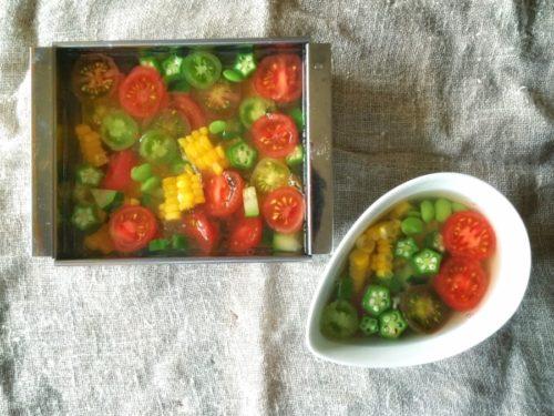 夏野菜寒天寄せ