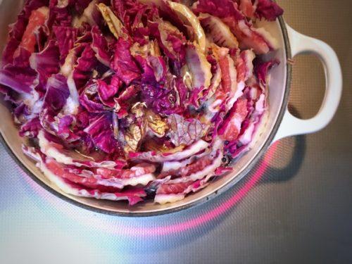 塩豚ムラサキ白菜の鍋