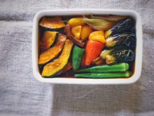 夏野菜を揚げびたしにしてみた