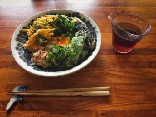 お昼ゴハンはかき揚げと野菜の天ぷら、温玉のぶっかけそうめん